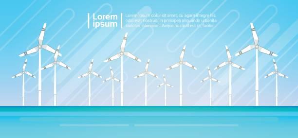 wind turbine energie erneuerbare wasser station meer hintergrund - aerial overview soil stock-grafiken, -clipart, -cartoons und -symbole
