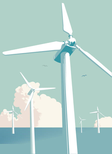 rüzgar türbini çiftliği denizde - rüzgar değirmeni stock illustrations