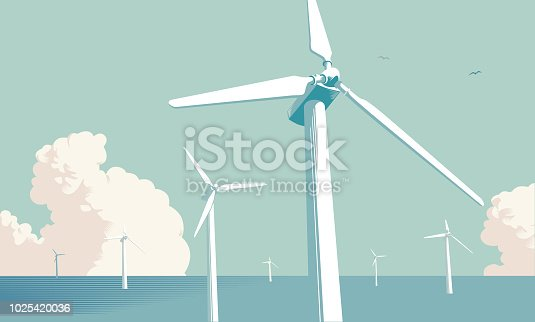 Wind Turbine Farm out at sea in traditional cross hatch style