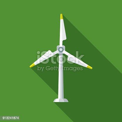 istock Wind Turbine Flat Design Environmental Icon 913241874