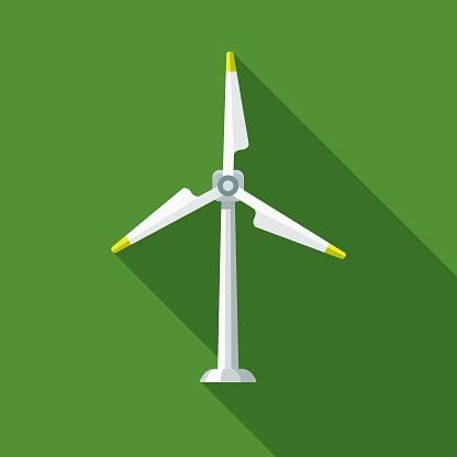 Wind Turbine Flat Design Environmental Icon