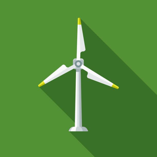 stockillustraties, clipart, cartoons en iconen met wind turbine platte ontwerp milieu pictogram - windmolen