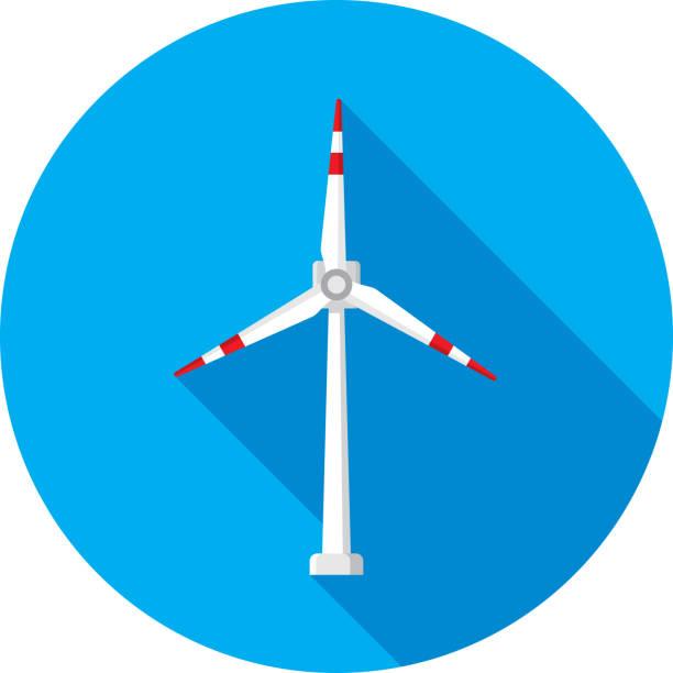 rüzgar türbini simgesi düz - rüzgar değirmeni stock illustrations