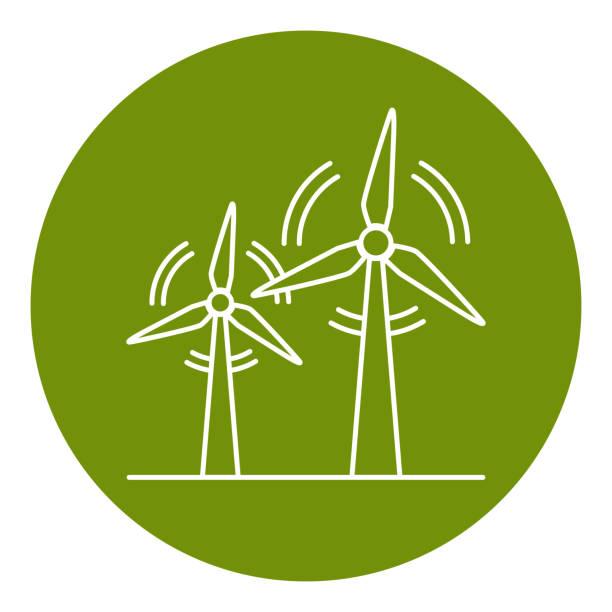 stockillustraties, clipart, cartoons en iconen met wind turbine-pictogram in de stijl van de dunne lijn - windmolen