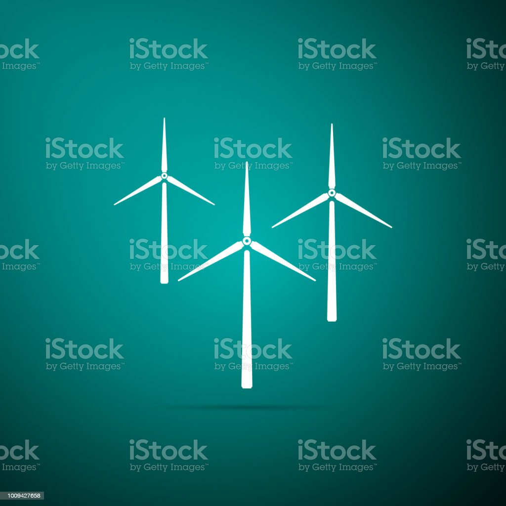Wind Turbine Icon Isolated On Green Background Wind