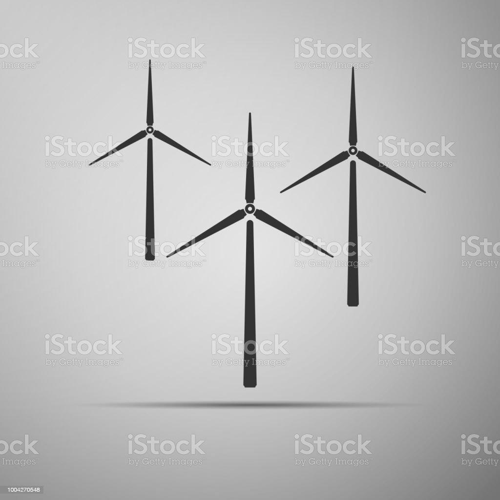 wind turbine icon isolated on grey background wind generator sign