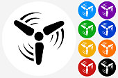 Wind Turbine Icon on Flat Color Circle Buttons. This 100% royalty free vector illustration features the main icon pictured in black inside a white circle. The alternative color options in blue, green, yellow, red, purple, indigo, orange and black are on the right of the icon and are arranged in two vertical columns.
