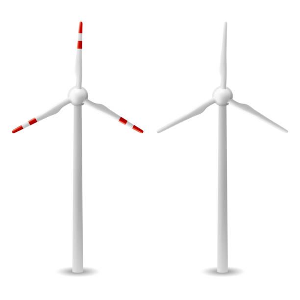 stockillustraties, clipart, cartoons en iconen met wind turbine isolated vector - windmolen