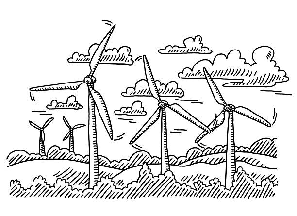 Wind Turbine Landscape Drawing Hand-drawn vector drawing of a Landscape with many Wind Turbines. Black-and-White sketch on a transparent background (.eps-file). Included files are EPS (v10) and Hi-Res JPG. environment stock illustrations