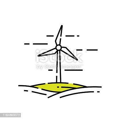 Wind turbine line icon. Renewable energy symbol. Green technology graphic. Vector illustration.