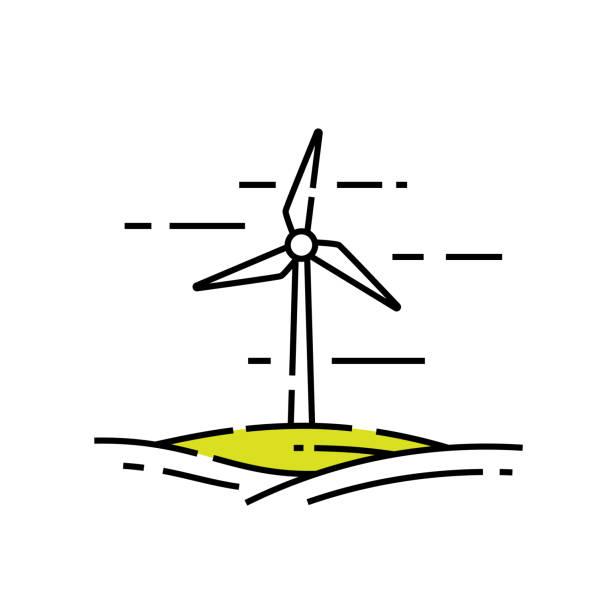rüzgar türbini hattı simgesi - rüzgar değirmeni stock illustrations