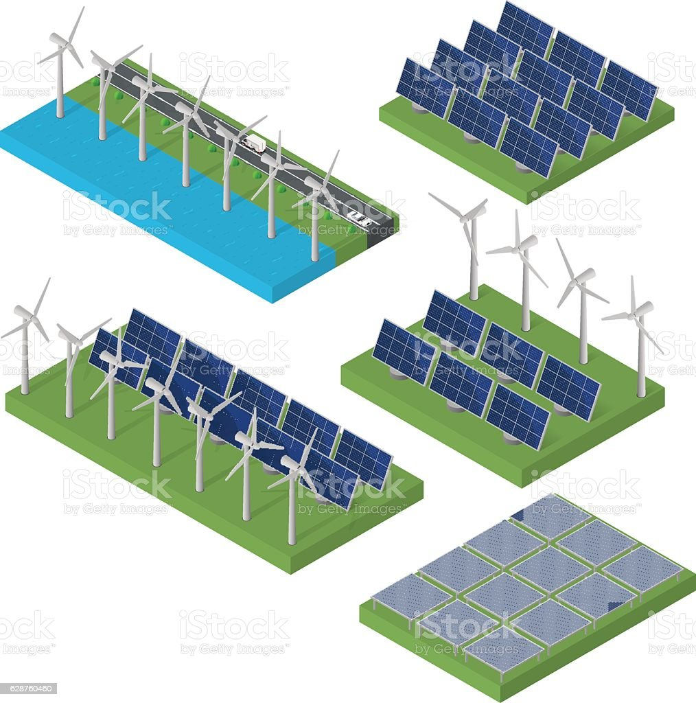 Wind turbine power. Isometric clean energy concept. vector art illustration