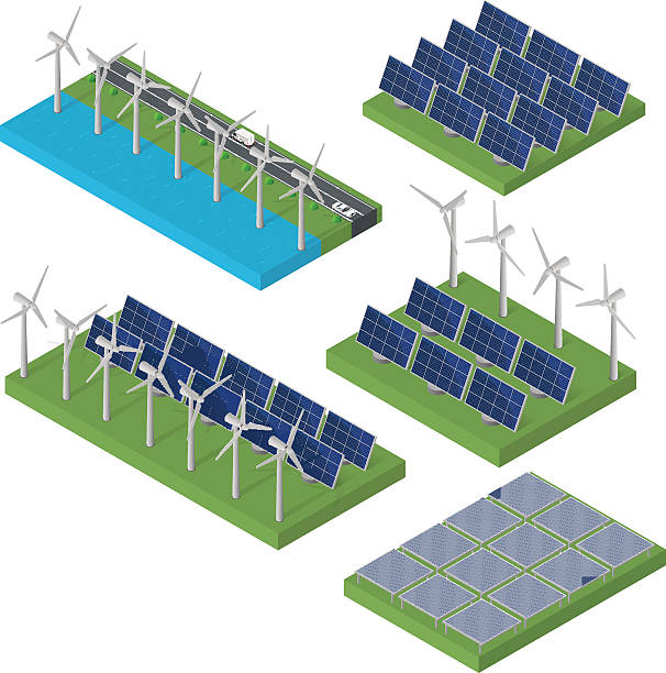 wind turbine power. isometric clean energy concept. - solar panels stock illustrations