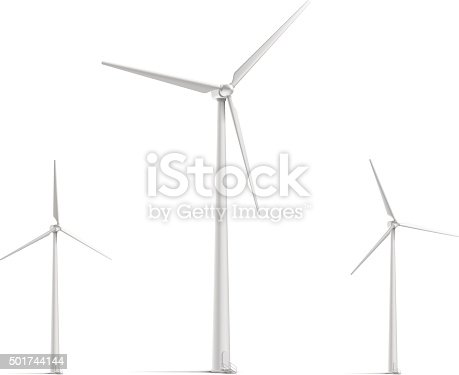 Vector wind turbine set. All objects are grouped in a separate layer, easy to edit.