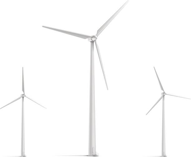 stockillustraties, clipart, cartoons en iconen met wind turbine set - windmolen