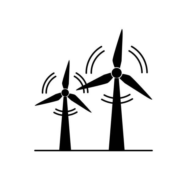 stockillustraties, clipart, cartoons en iconen met wind turbine silhouet pictogram in vlakke stijl - windmolen