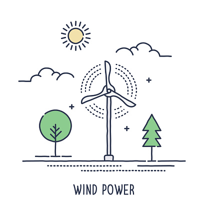 Hand drawn line icon wind turbine symbol for sustainable energy alternatives compositions. Modern style vector illustration concept.
