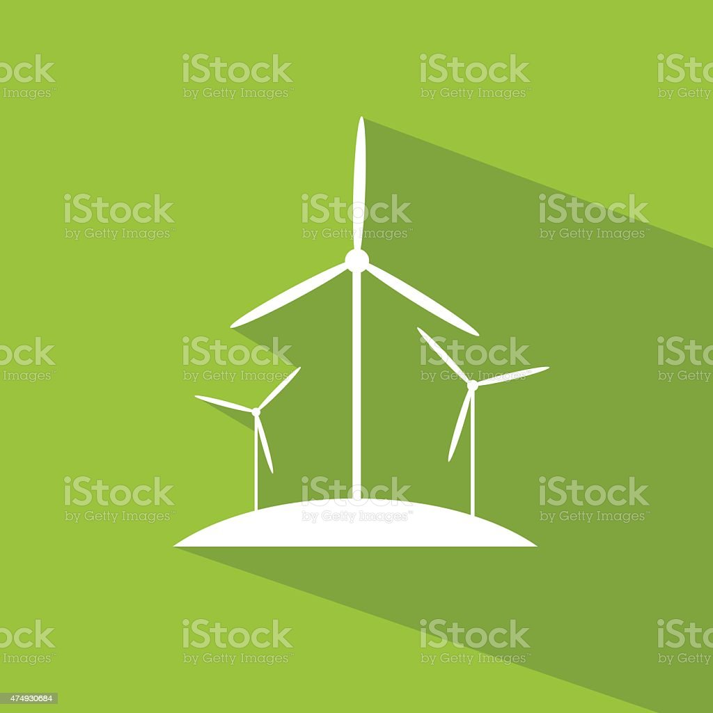 Wind Turbine Tower Energy Recycle Technology Flat Design Stock