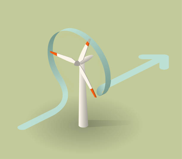 stockillustraties, clipart, cartoons en iconen met windturbine - windmolen