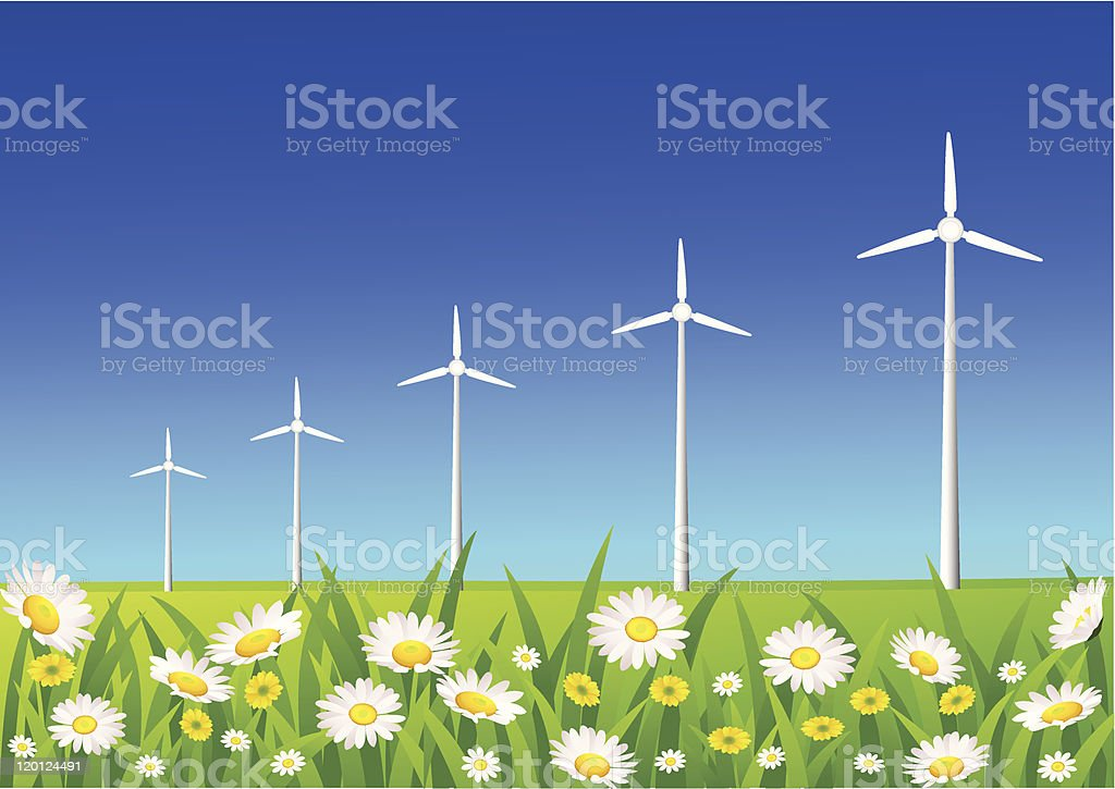 Wind turbine royalty-free wind turbine stock vector art & more images of blue
