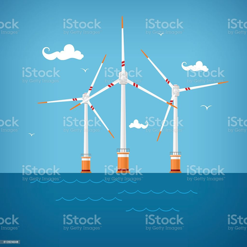 Wind Turbines In The Sea Stock Vector Art More Images Of Power Turbine Diagram Royalty Free