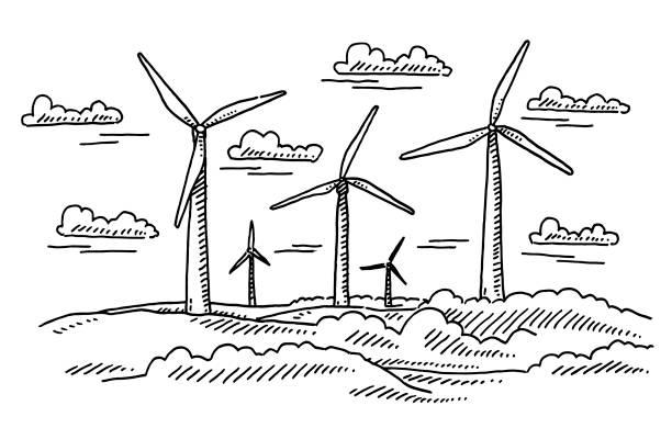 Wind Turbines Landscape Drawing vector art illustration