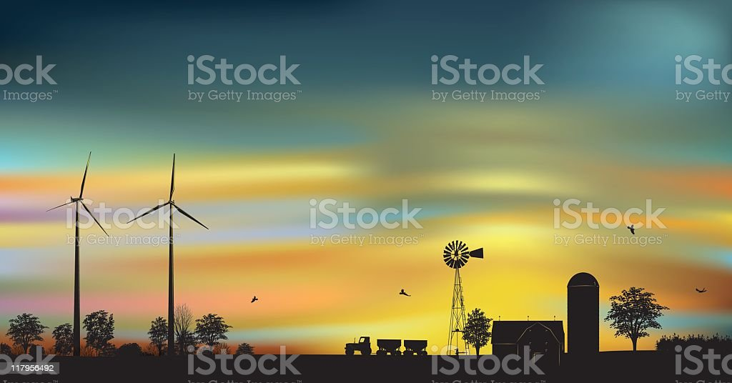 Wind Turbines on a farm at dawn vector art illustration