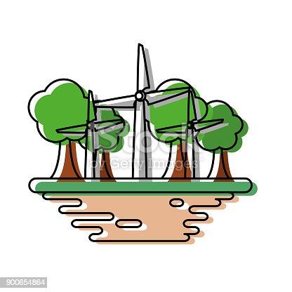 Wind turbines on ground cartoon vector illustration graphic icon