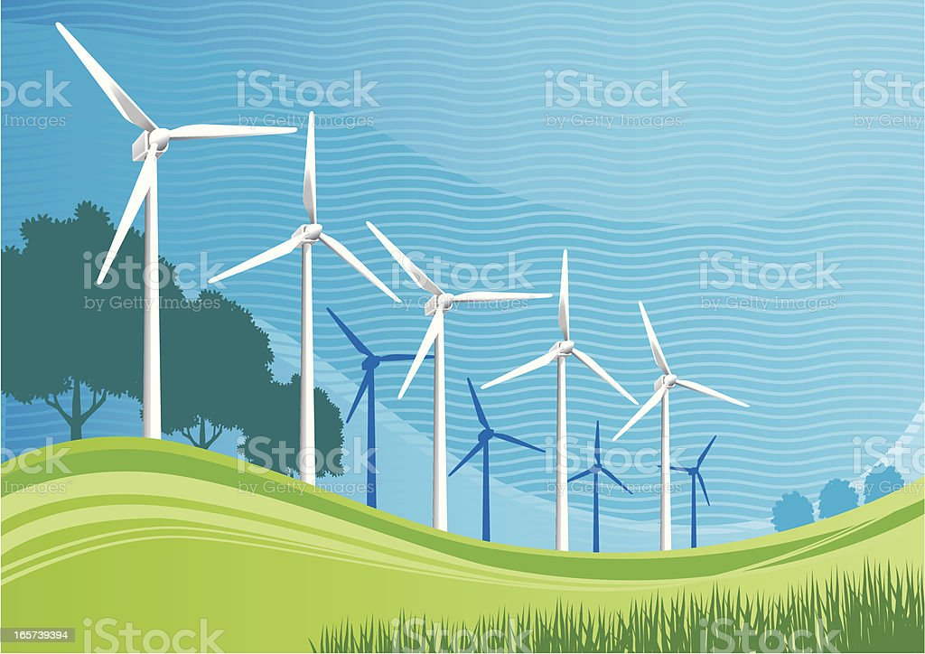 Wind Turbines royalty-free wind turbines stock vector art & more images of alternative energy