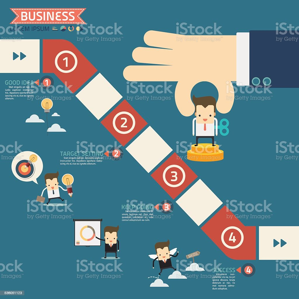 wind up doll in step for success business game concept vector art illustration