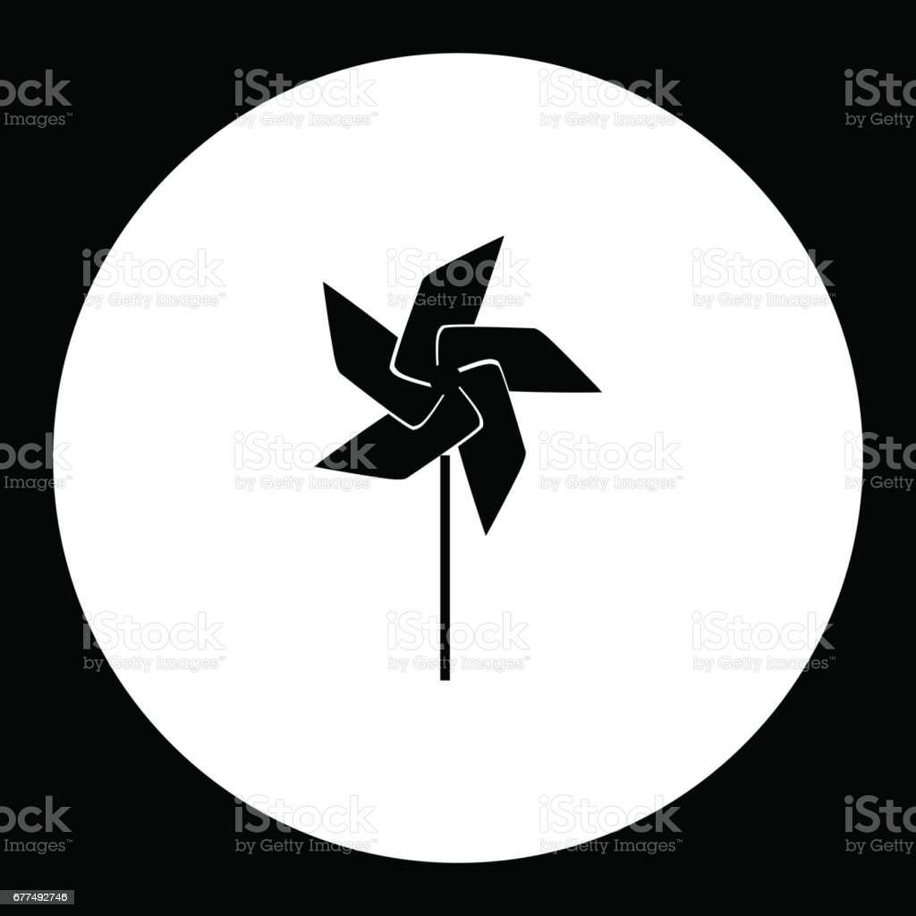 wind vane little windmill simple black isolated icon eps10 vector art illustration