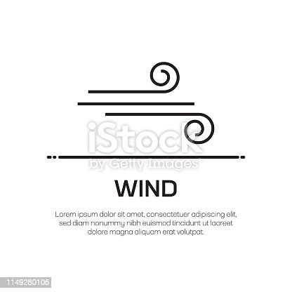 Wind Vector Line Icon - Simple Thin Line Icon, Premium Quality Design Element