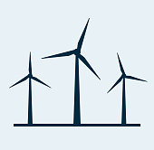 Wind vector turbine icon. Wind power energy turbine silhouette illustration tower windmill.