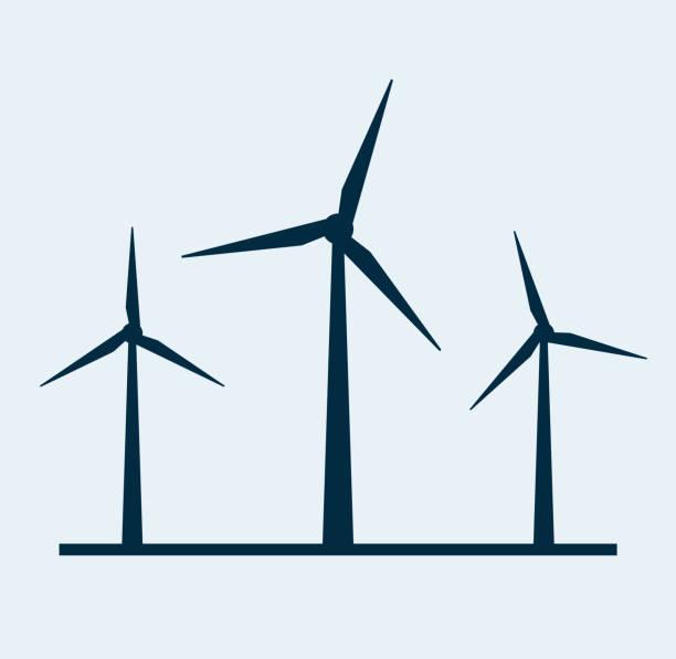 풍력 벡터 터빈 아이콘입니다. 풍력 에너지 터빈 실루엣 일러스트 타워 풍차 - 풍차 stock illustrations
