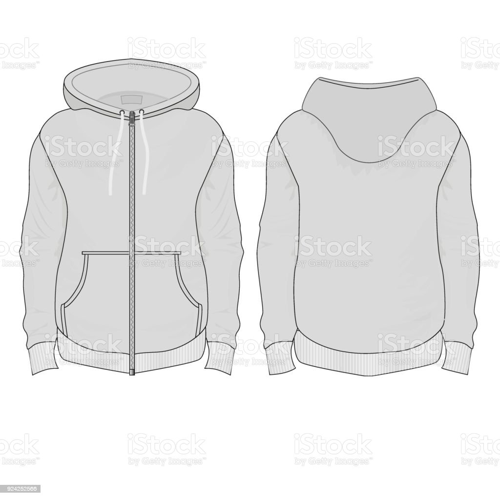 windbreaker with patch pockets in gray Tanakh with hood vector art illustration