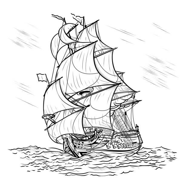 Wind-driven ship on a white background The wind-driven ship swims on a sea on a white background, art line pirate ship stock illustrations