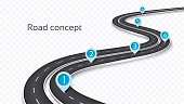 Winding 3D road concept on a transparent background. Timeline template. Vector illustration