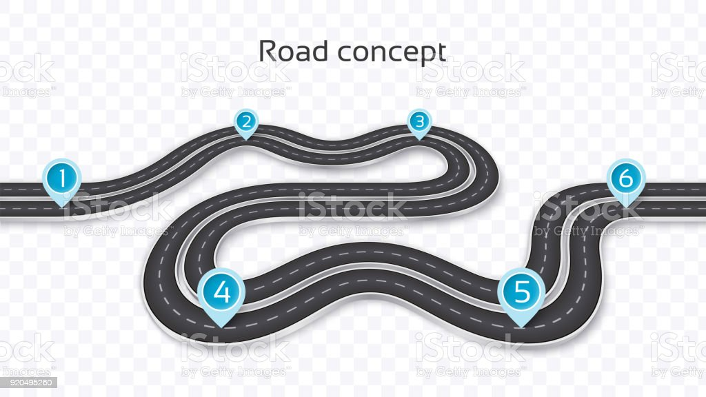 winding 3d road concept on a transparent background timeline template royalty free winding 3d