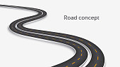 Winding 3D road concept on a white background. Timeline template. Vector illustration