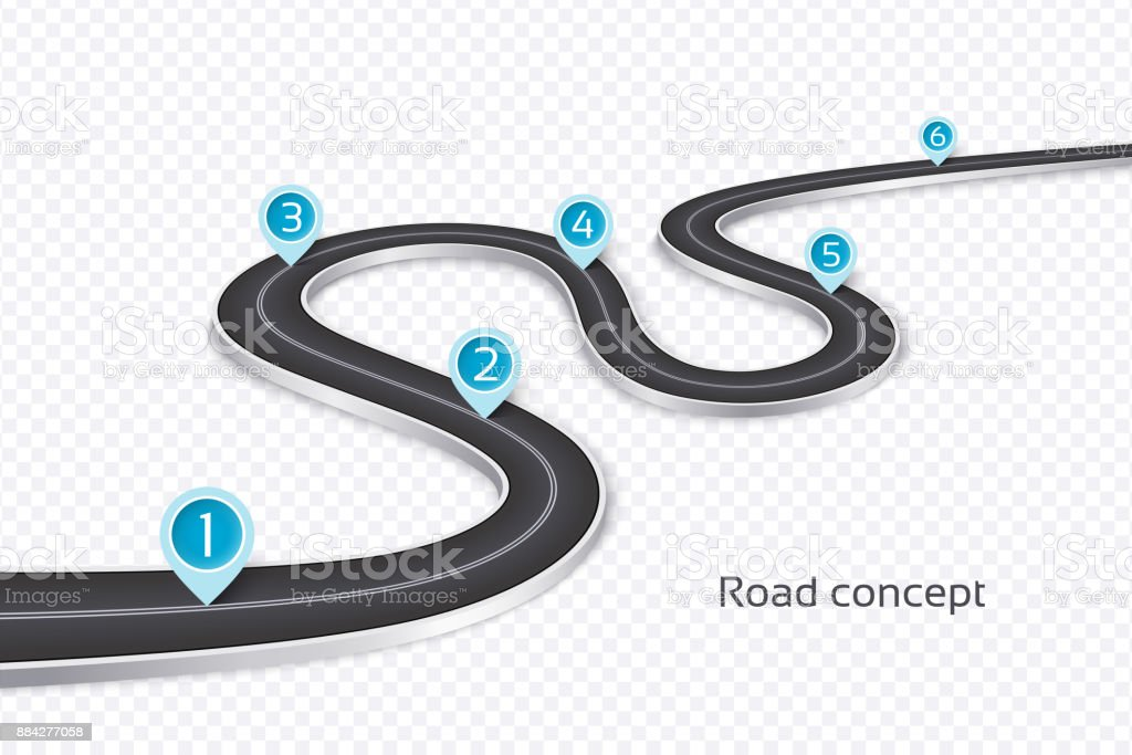 Winding 3d road infographic concept on a white background. Timel vector art illustration
