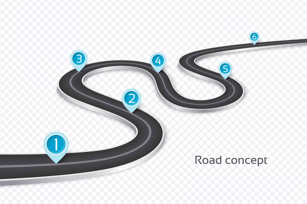 winding 3d road infographic concept on a white background. timel - journey vector stock illustrations, clip art, cartoons, & icons