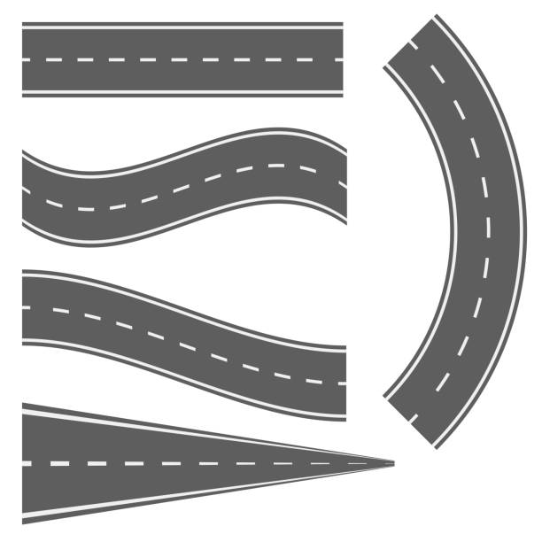 ilustrações de stock, clip art, desenhos animados e ícones de winding curved road or highway with markings - road