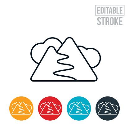 Winding Mountain Road Thin Line Icon - Editable Stroke