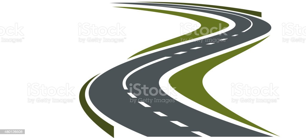 Winding paved road or highway icon vector art illustration