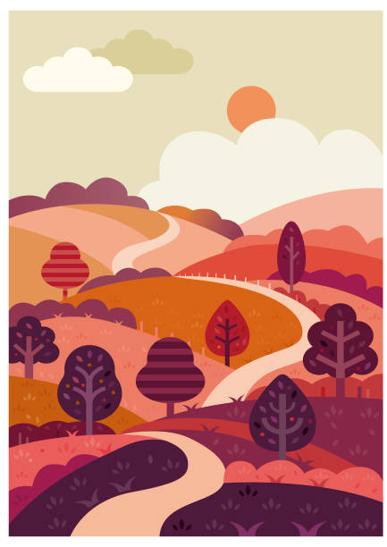 Winding road and countryside illustration vector art illustration