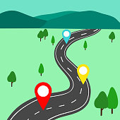 Winding road cartoon background with mountains landscape.