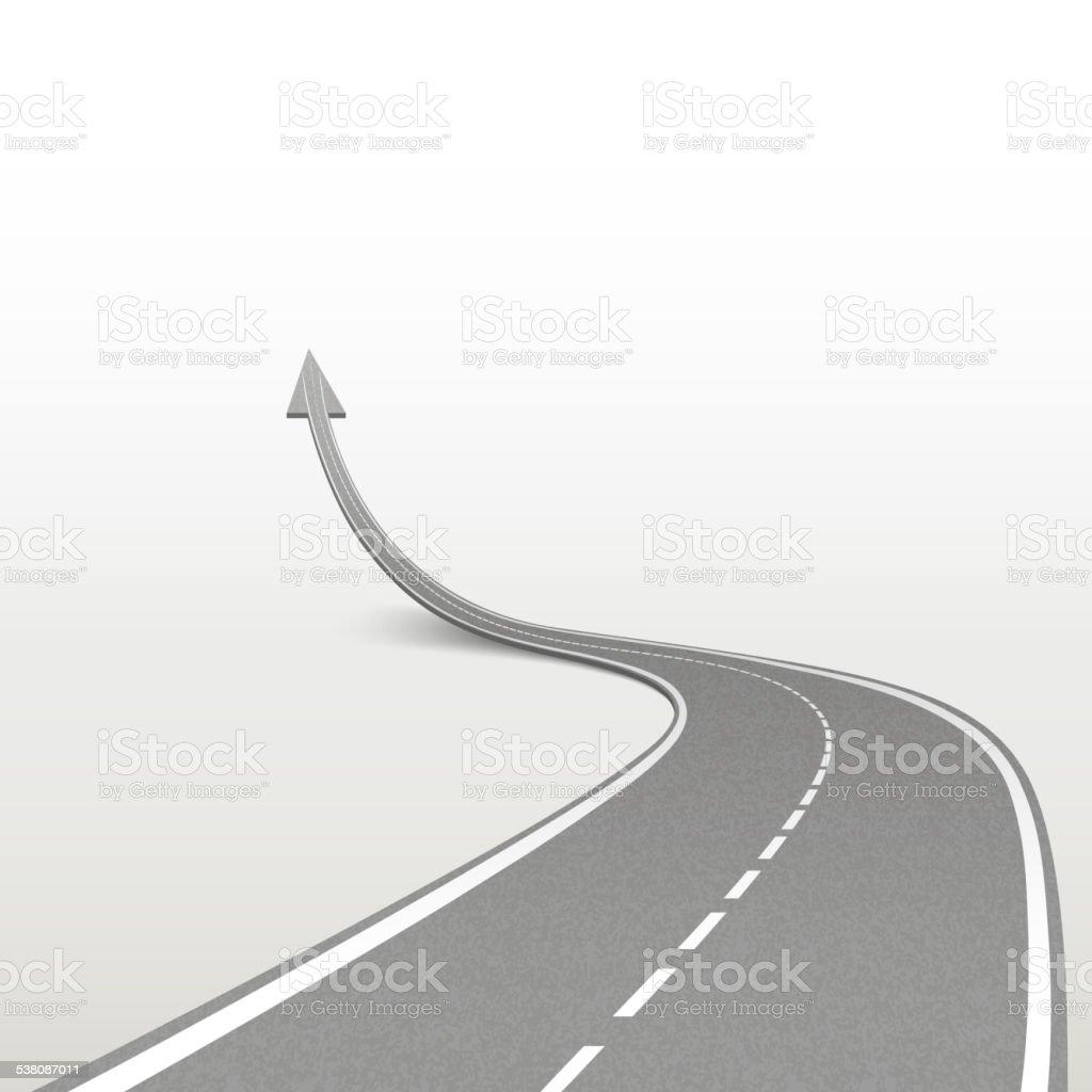 winding road in arrow shape vector art illustration