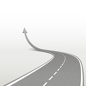 winding road in arrow shape