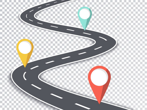 Winding Road Isolated Transparent Special Effect Road Map, Map, Banner - Sign, Data, Equipment guide stock illustrations