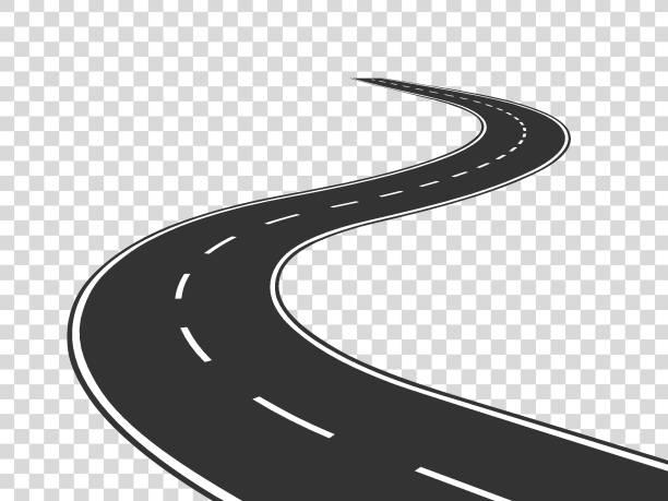ilustraciones, imágenes clip art, dibujos animados e iconos de stock de camino de la bobina. carretera curvada del tráfico del viaje. camino al horizonte en perspectiva. concepto aislado de sinuoso asfalto línea vacía - vía